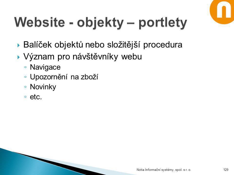 Website - objekty – portlety