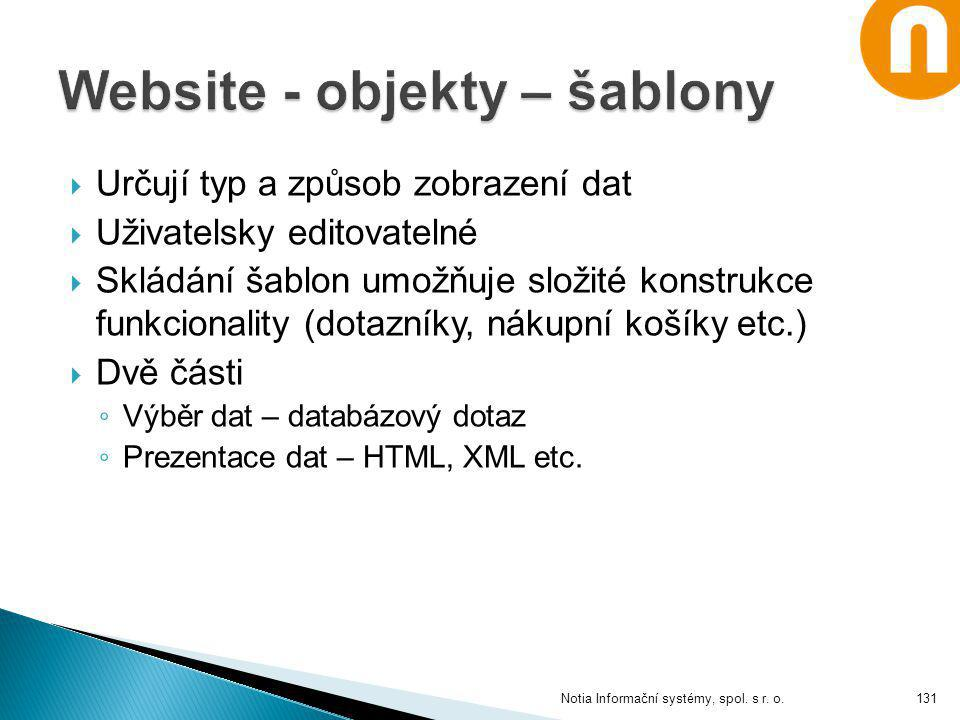 Website - objekty – šablony