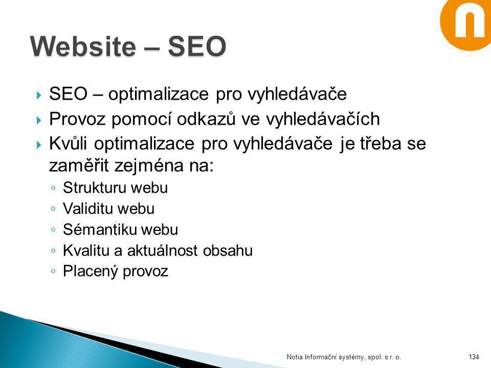 Website – SEO SEO – optimalizace pro vyhledávače