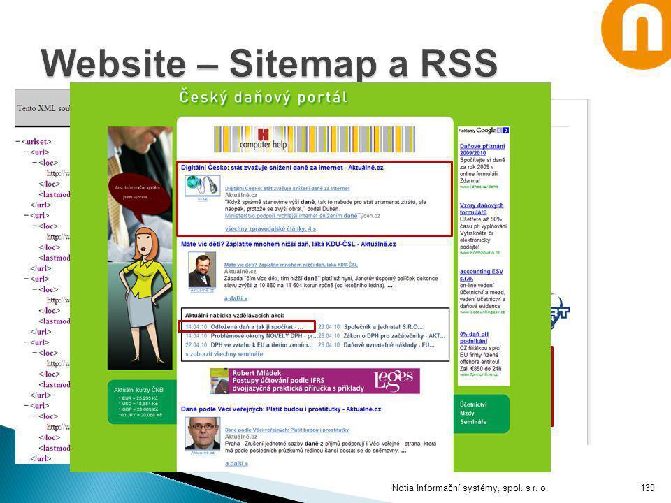 Website – Sitemap a RSS Notia Informační systémy, spol. s r. o.