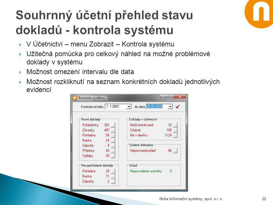 Souhrnný účetní přehled stavu dokladů - kontrola systému