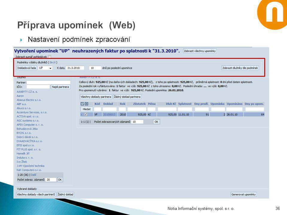 Příprava upomínek (Web)