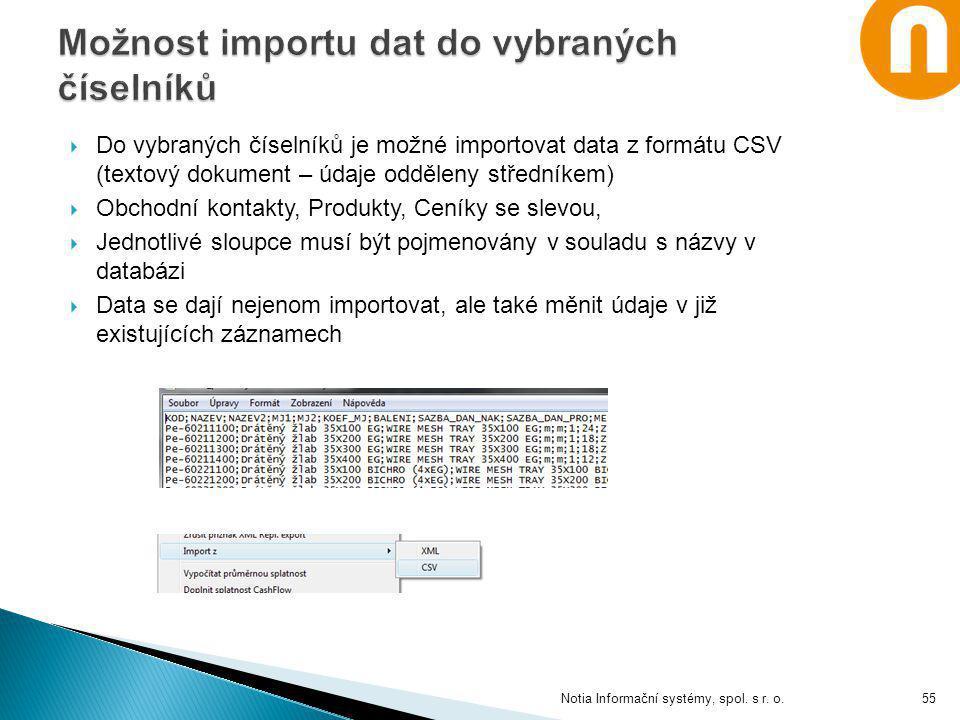 Možnost importu dat do vybraných číselníků