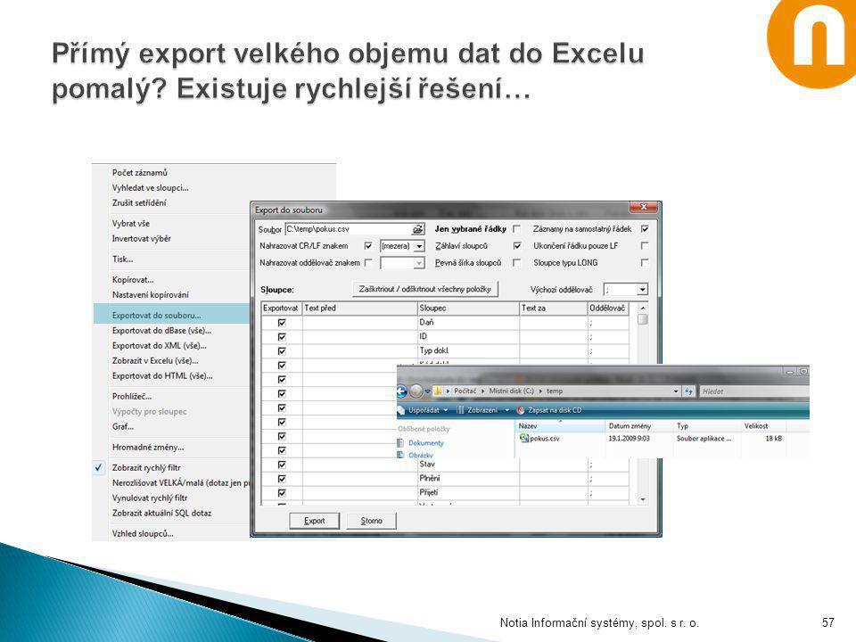 Přímý export velkého objemu dat do Excelu pomalý