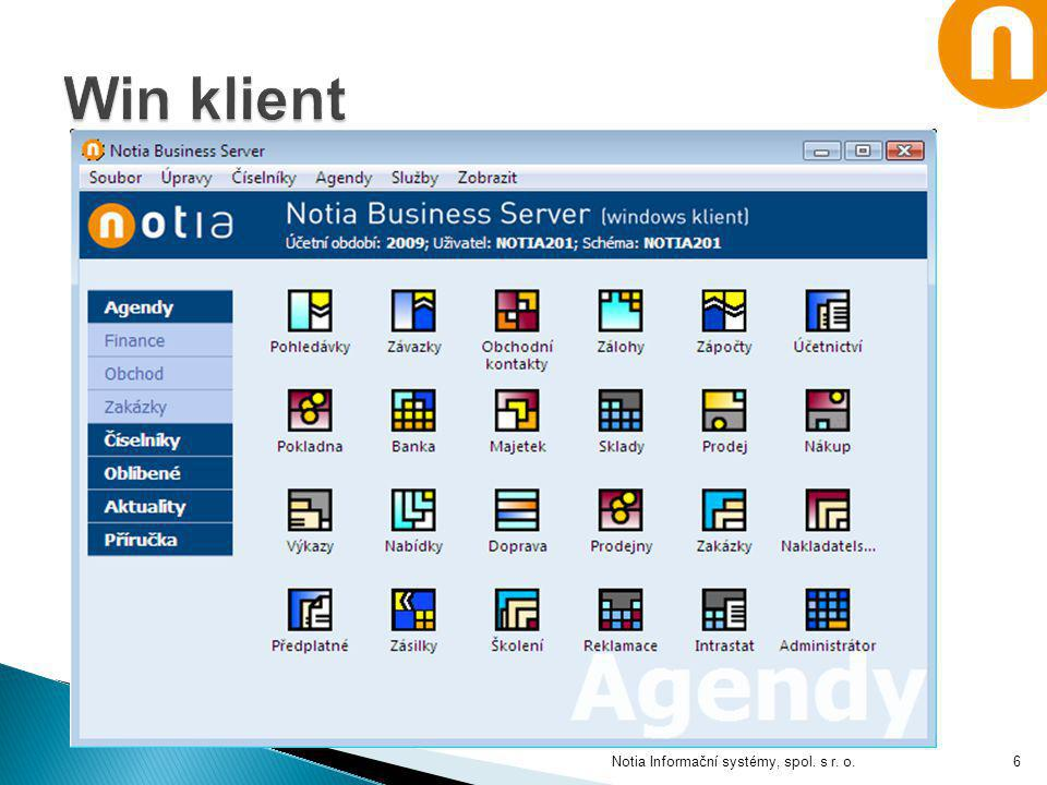 Win klient Notia Informační systémy, spol. s r. o.