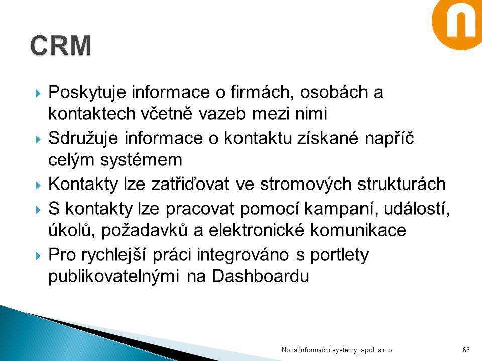 CRM Poskytuje informace o firmách, osobách a kontaktech včetně vazeb mezi nimi. Sdružuje informace o kontaktu získané napříč celým systémem.
