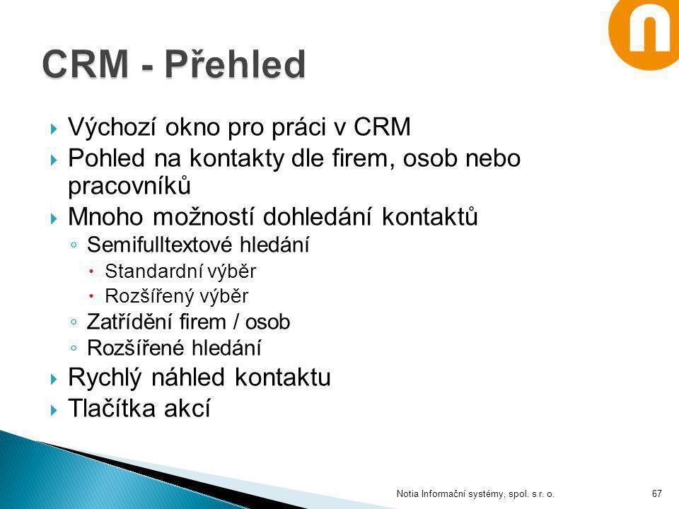 CRM - Přehled Výchozí okno pro práci v CRM