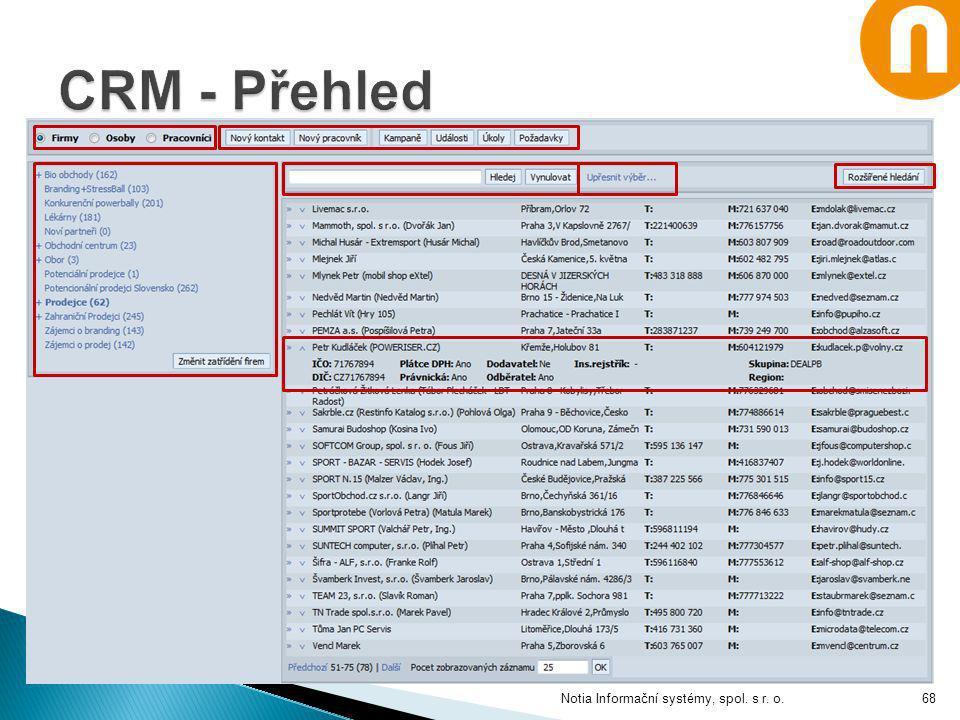 CRM - Přehled Notia Informační systémy, spol. s r. o.