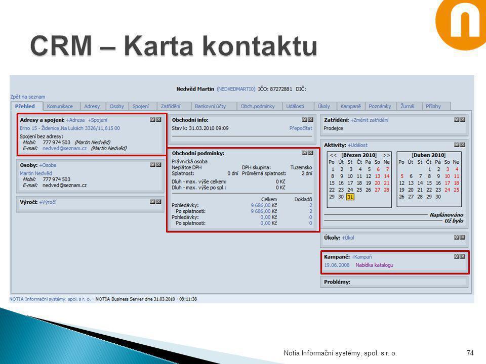 CRM – Karta kontaktu Notia Informační systémy, spol. s r. o.