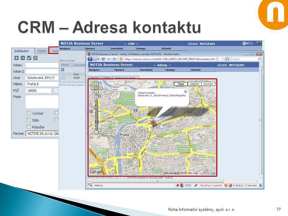 CRM – Adresa kontaktu Notia Informační systémy, spol. s r. o.