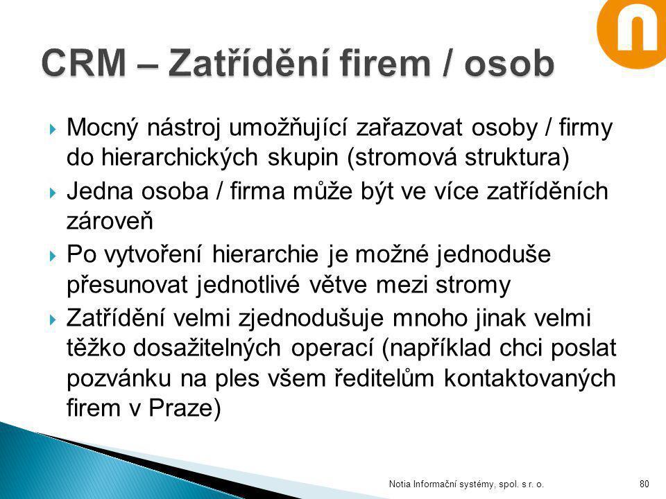 CRM – Zatřídění firem / osob