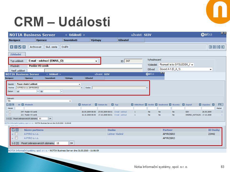 CRM – Události Notia Informační systémy, spol. s r. o.