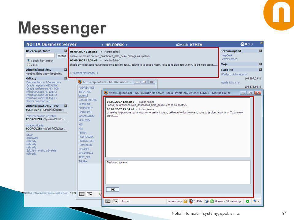 Messenger Notia Informační systémy, spol. s r. o.