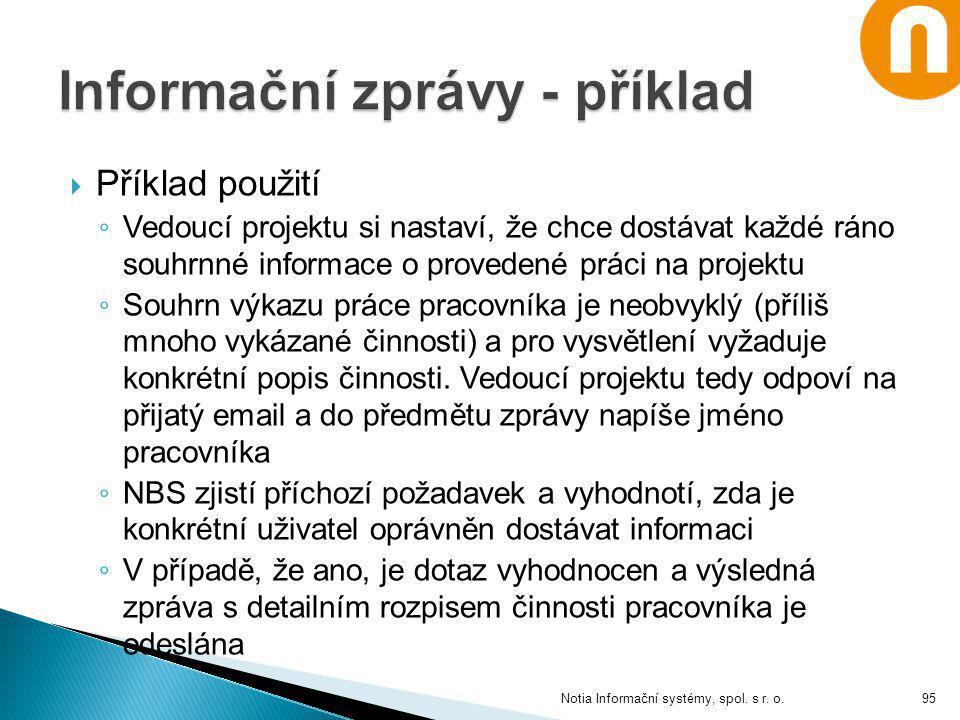 Informační zprávy - příklad