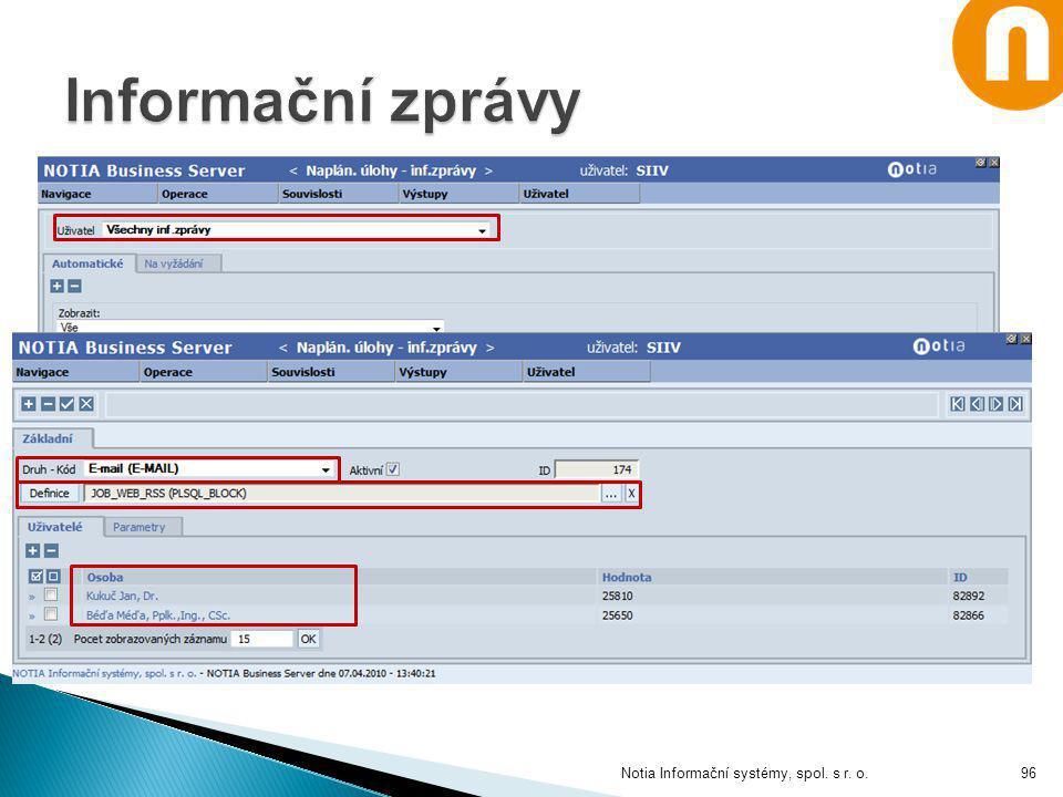 Informační zprávy Notia Informační systémy, spol. s r. o.