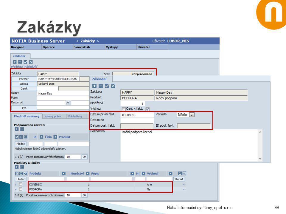 Zakázky Notia Informační systémy, spol. s r. o.