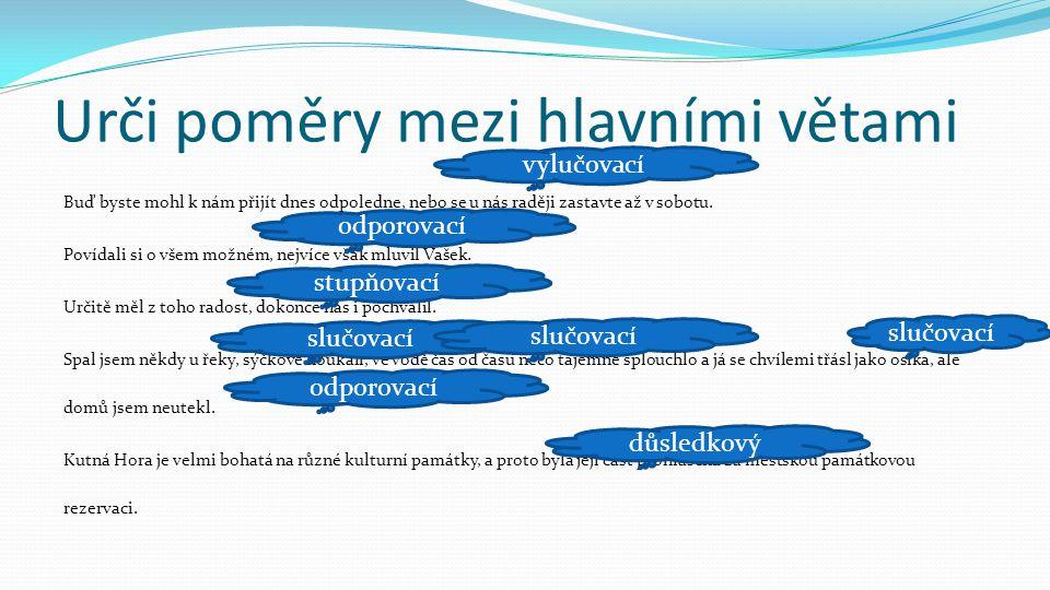 Urči poměry mezi hlavními větami