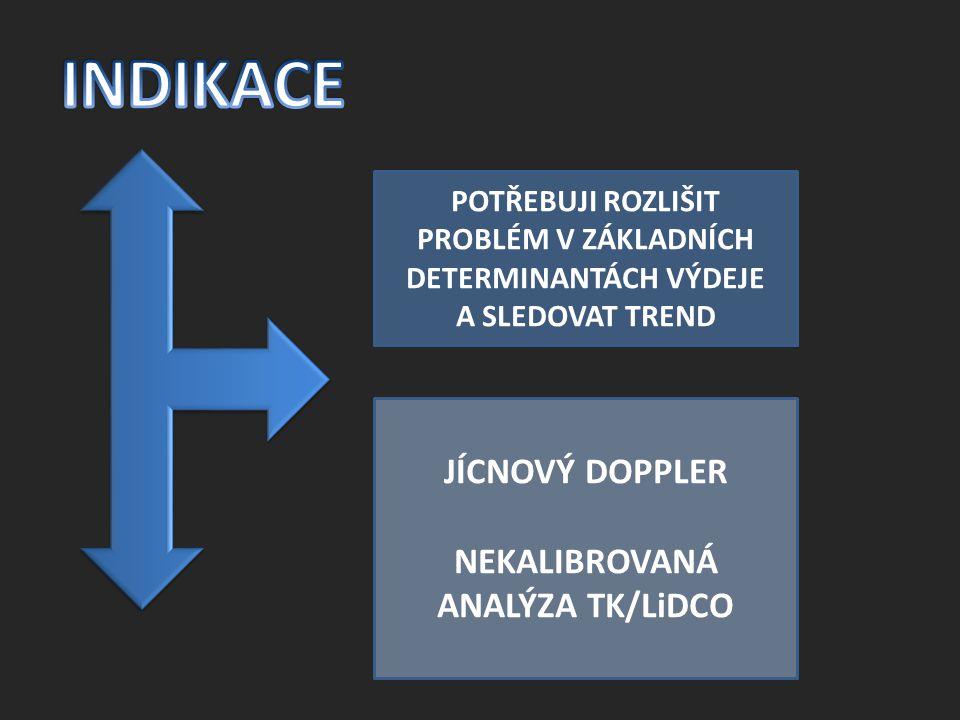 INDIKACE JÍCNOVÝ DOPPLER NEKALIBROVANÁ ANALÝZA TK/LiDCO
