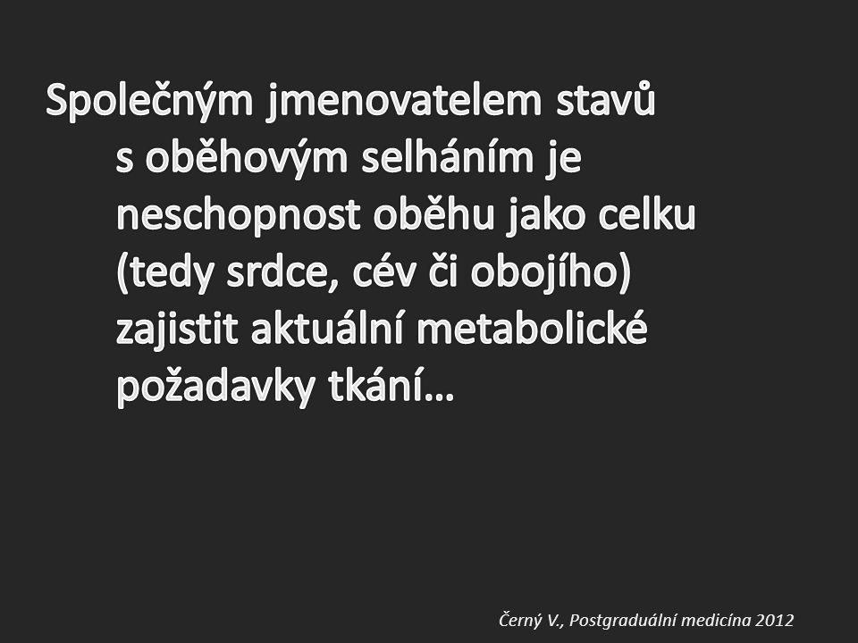 Společným jmenovatelem stavů s oběhovým selháním je neschopnost oběhu jako celku (tedy srdce, cév či obojího) zajistit aktuální metabolické požadavky tkání…