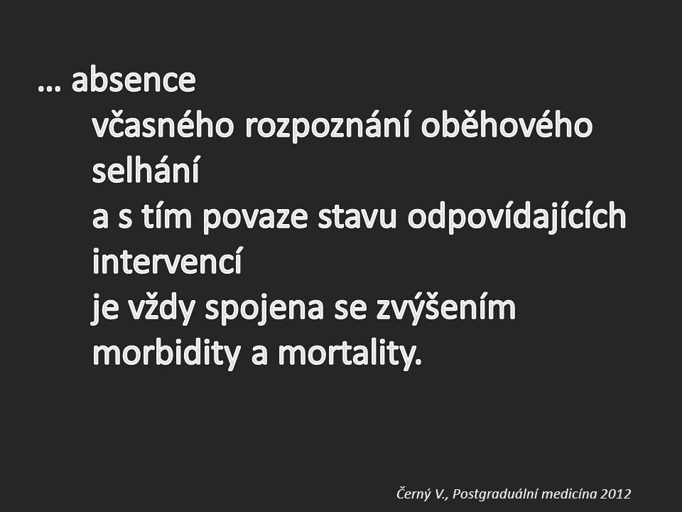 … absence včasného rozpoznání oběhového selhání a s tím povaze stavu odpovídajících intervencí je vždy spojena se zvýšením morbidity a mortality.