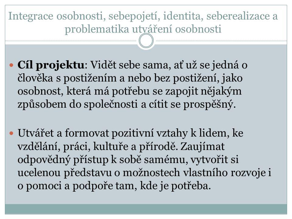 Integrace osobnosti, sebepojetí, identita, seberealizace a problematika utváření osobnosti