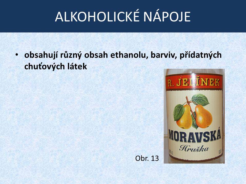ALKOHOLICKÉ NÁPOJE obsahují různý obsah ethanolu, barviv, přídatných chuťových látek Obr. 13