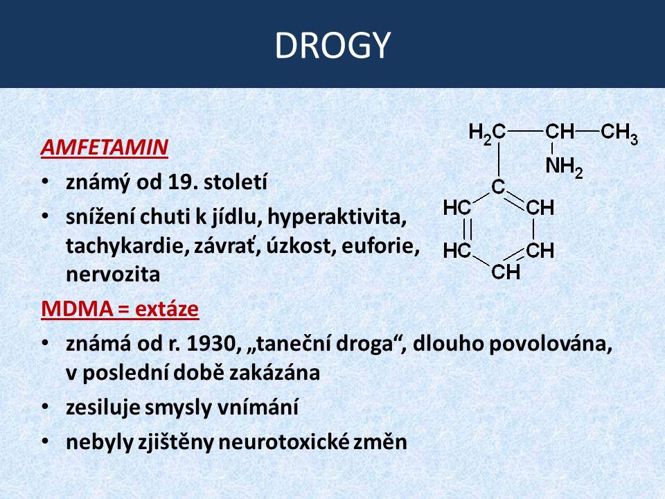 DROGY AMFETAMIN známý od 19. století