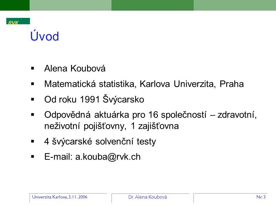 Úvod Alena Koubová Matematická statistika, Karlova Univerzita, Praha