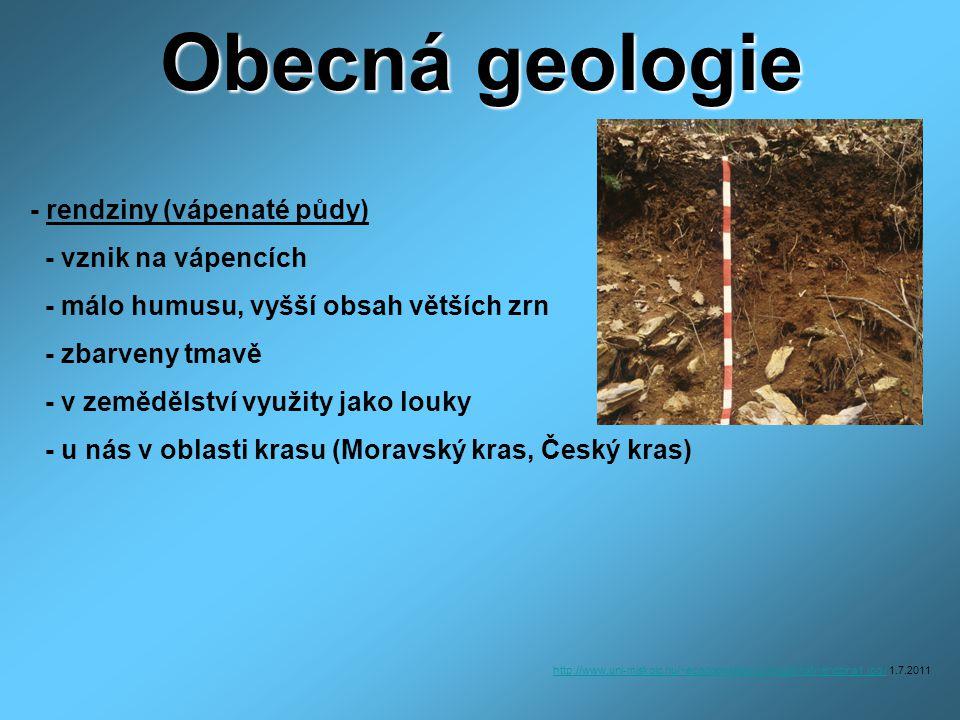 Obecná geologie - rendziny (vápenaté půdy) - vznik na vápencích