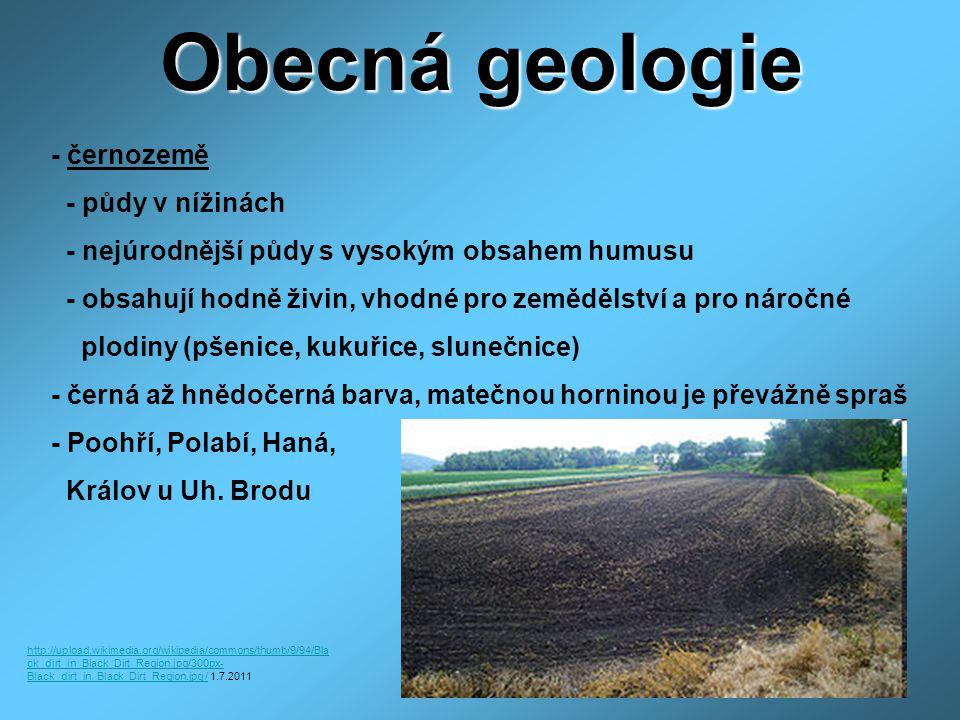 Obecná geologie - půdy v nížinách