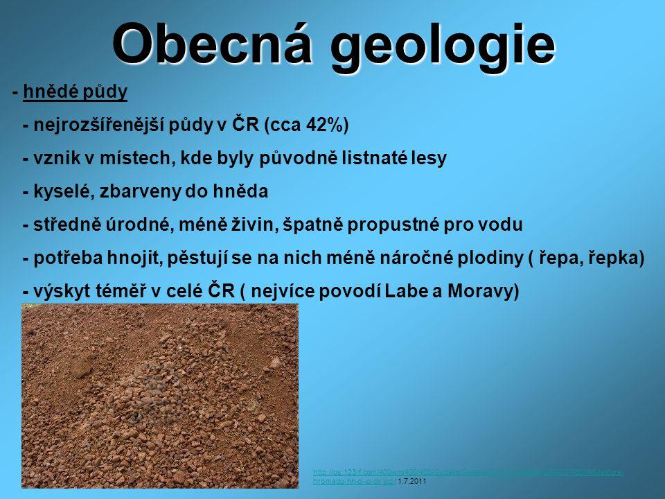 Obecná geologie - hnědé půdy - nejrozšířenější půdy v ČR (cca 42%)