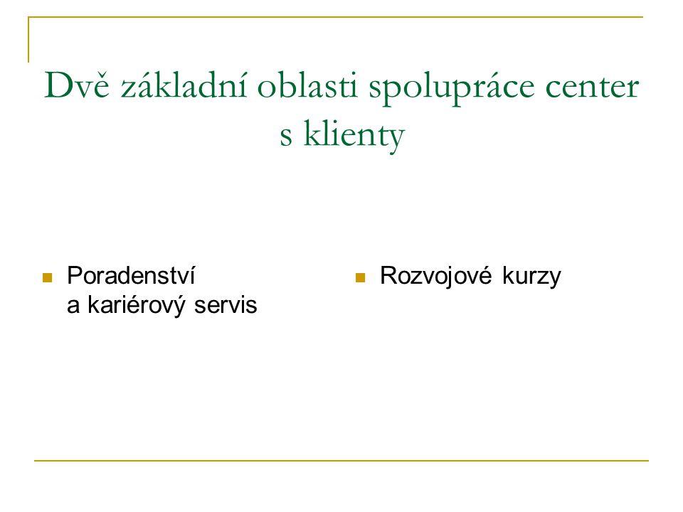 Dvě základní oblasti spolupráce center s klienty