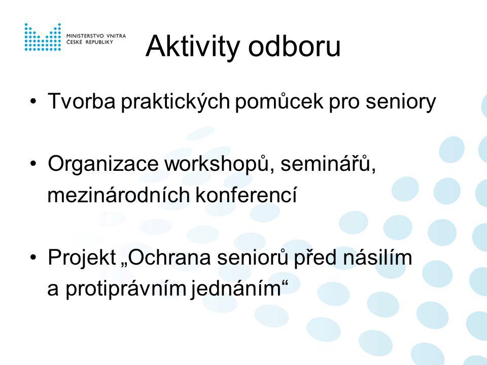 Aktivity odboru Tvorba praktických pomůcek pro seniory
