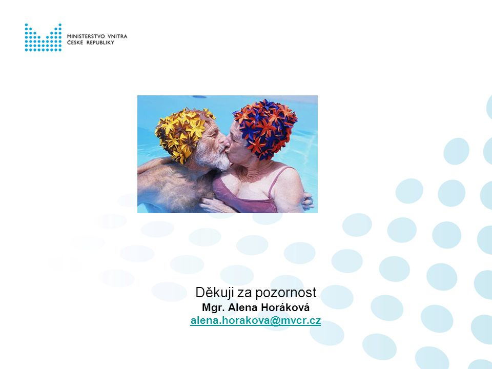 Děkuji za pozornost Mgr. Alena Horáková alena.horakova@mvcr.cz