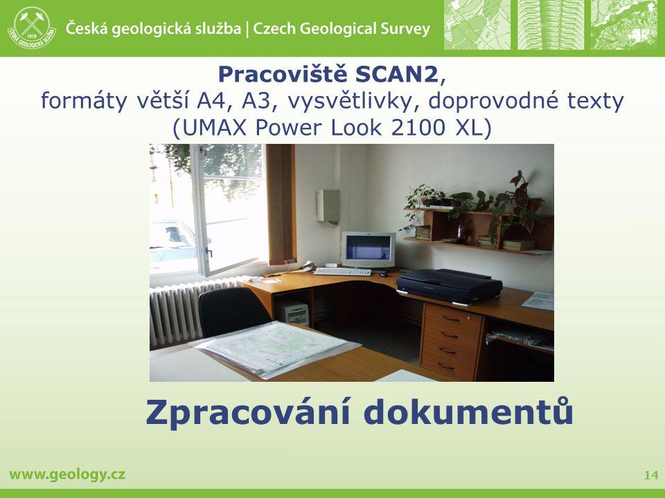 Pracoviště SCAN2, formáty větší A4, A3, vysvětlivky, doprovodné texty (UMAX Power Look 2100 XL)