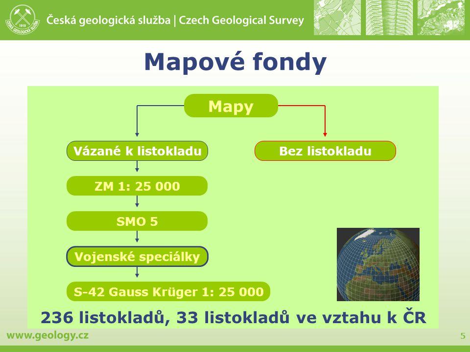 Mapové fondy Mapy 236 listokladů, 33 listokladů ve vztahu k ČR