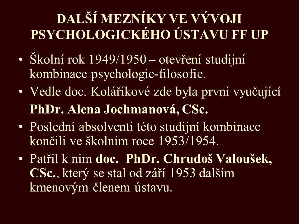 DALŠÍ MEZNÍKY VE VÝVOJI PSYCHOLOGICKÉHO ÚSTAVU FF UP