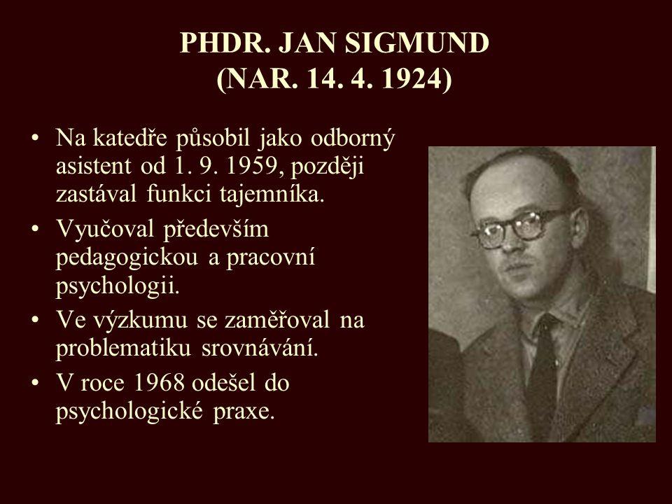 PHDR. JAN SIGMUND (NAR. 14. 4. 1924) Na katedře působil jako odborný asistent od 1. 9. 1959, později zastával funkci tajemníka.