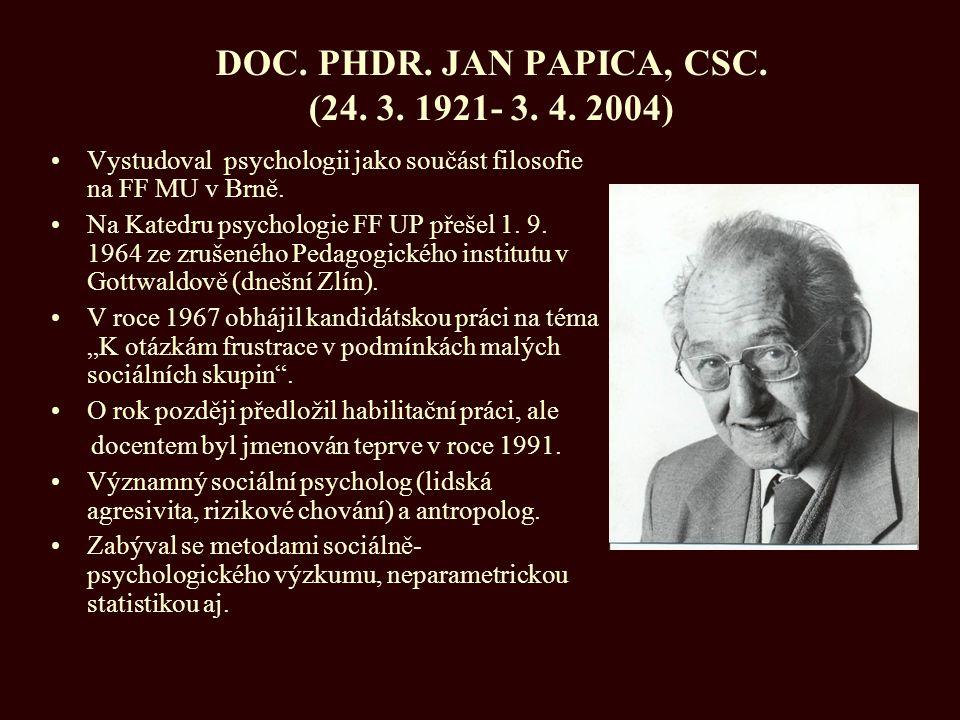 DOC. PHDR. JAN PAPICA, CSC. (24. 3. 1921- 3. 4. 2004)