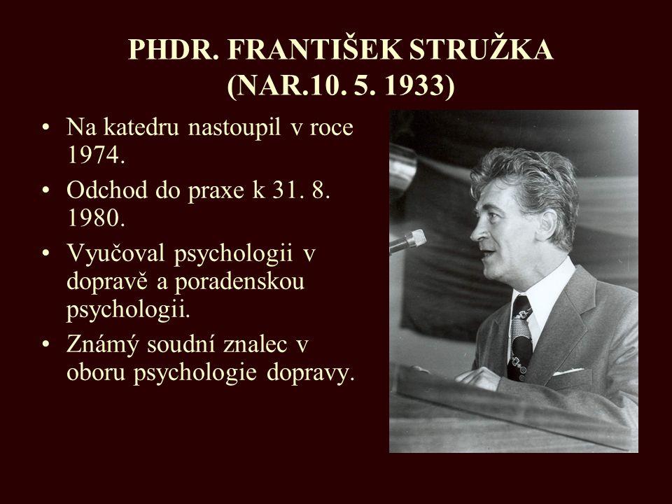 PHDR. FRANTIŠEK STRUŽKA (NAR.10. 5. 1933)