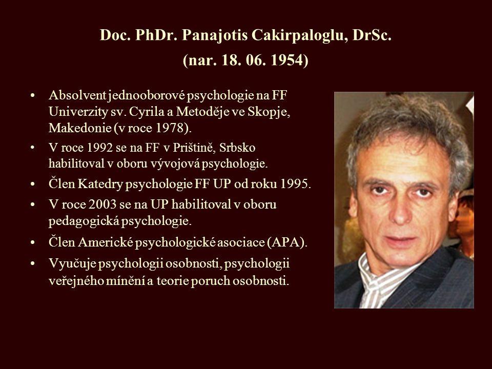 Doc. PhDr. Panajotis Cakirpaloglu, DrSc. (nar. 18. 06. 1954)