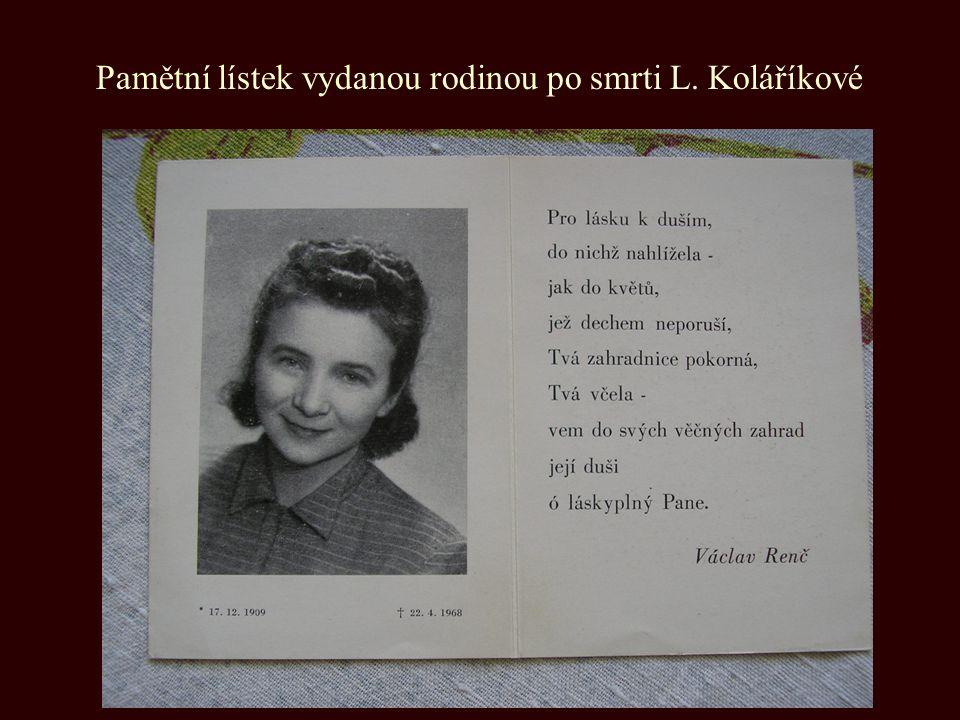Pamětní lístek vydanou rodinou po smrti L. Koláříkové