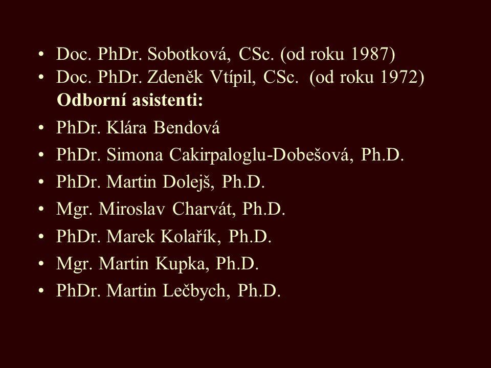 Doc. PhDr. Sobotková, CSc. (od roku 1987)