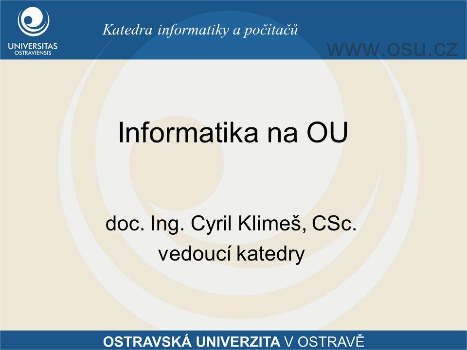 doc. Ing. Cyril Klimeš, CSc. vedoucí katedry