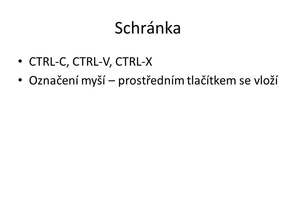 Schránka CTRL-C, CTRL-V, CTRL-X