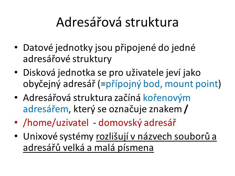Adresářová struktura Datové jednotky jsou připojené do jedné adresářové struktury.