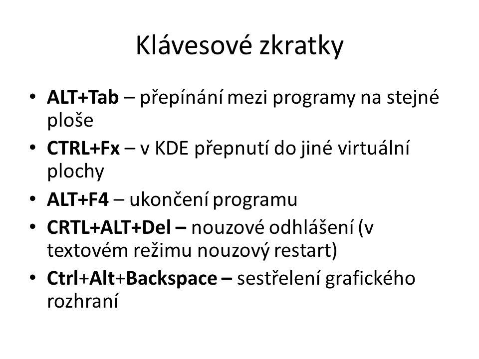 Klávesové zkratky ALT+Tab – přepínání mezi programy na stejné ploše