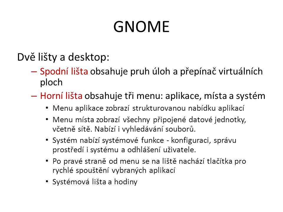 GNOME Dvě lišty a desktop: