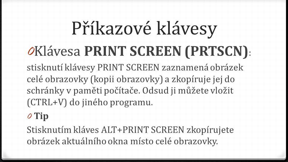 Příkazové klávesy Klávesa PRINT SCREEN (PRTSCN):