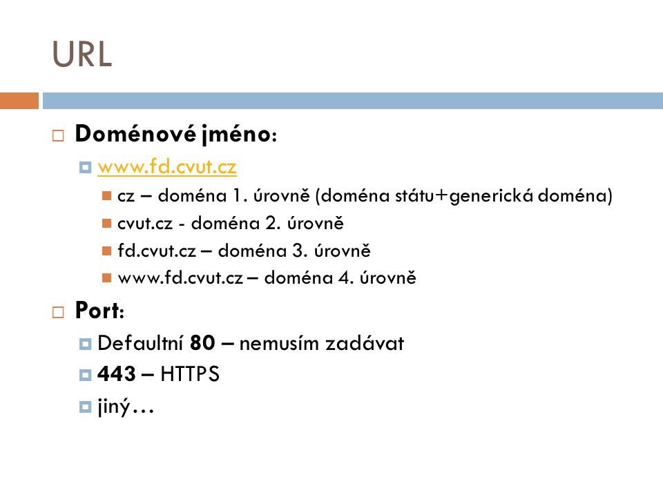 URL Doménové jméno: Port: www.fd.cvut.cz